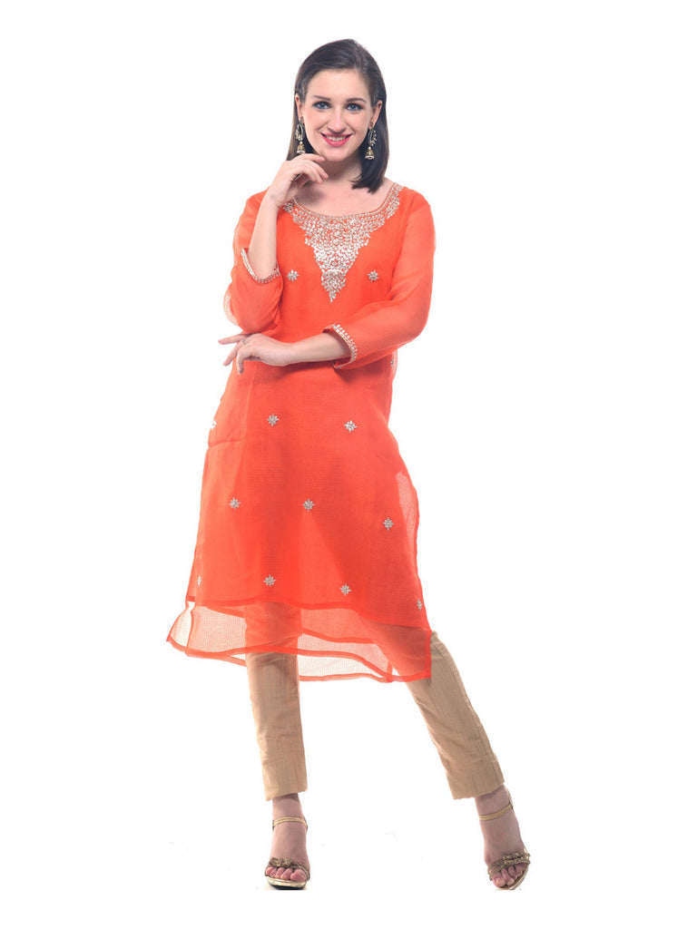 Orange Gotta Patti work Kota Silk Kurta
