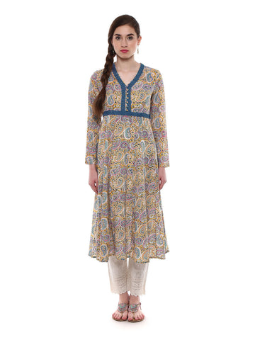 Lyla Yellow Printed Anarkali Kurta