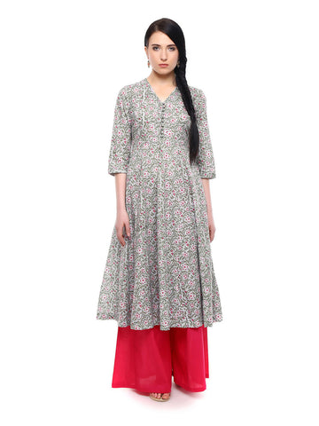 Lyla Teal and Pink mughal print Anarkali Kurta