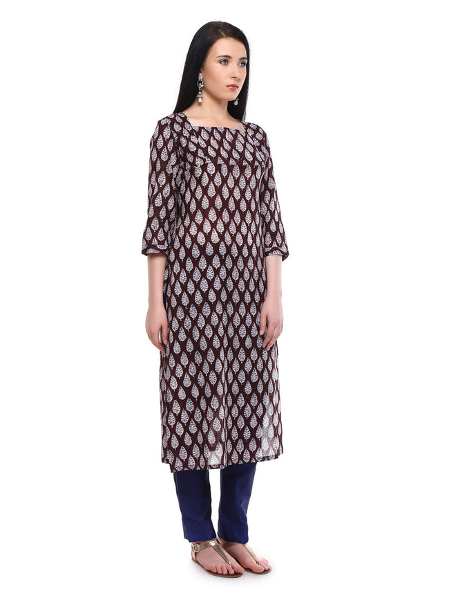 Deep Brown Cotton Mulmul Long Kurta