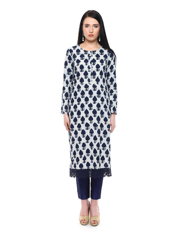 Cotton Mulmul Indigo Long Kurta