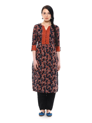 Cotton Mulmul Kurta with Contrast Plain Yoke
