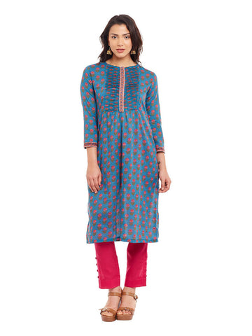 Blue Block Printed Peated Kurta