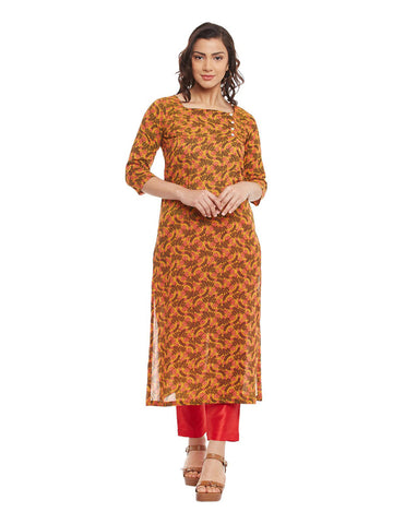 Yellow Block Printed Pleated Cotton Kurti