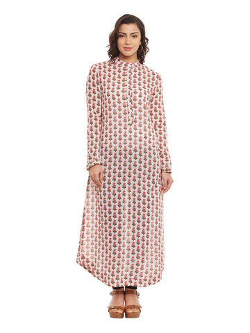 Pink Block Printed Shirt Kurta