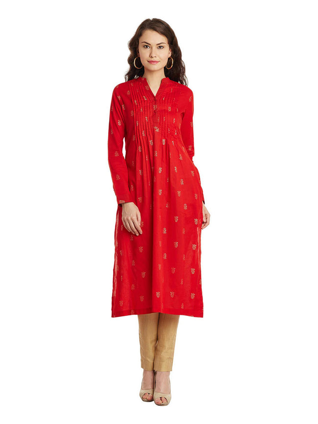 Red Gold Printed Pleated Cotton Kurta