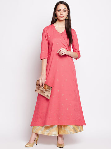 Lyla Cotton Kurta With Gold Block Print Motifs