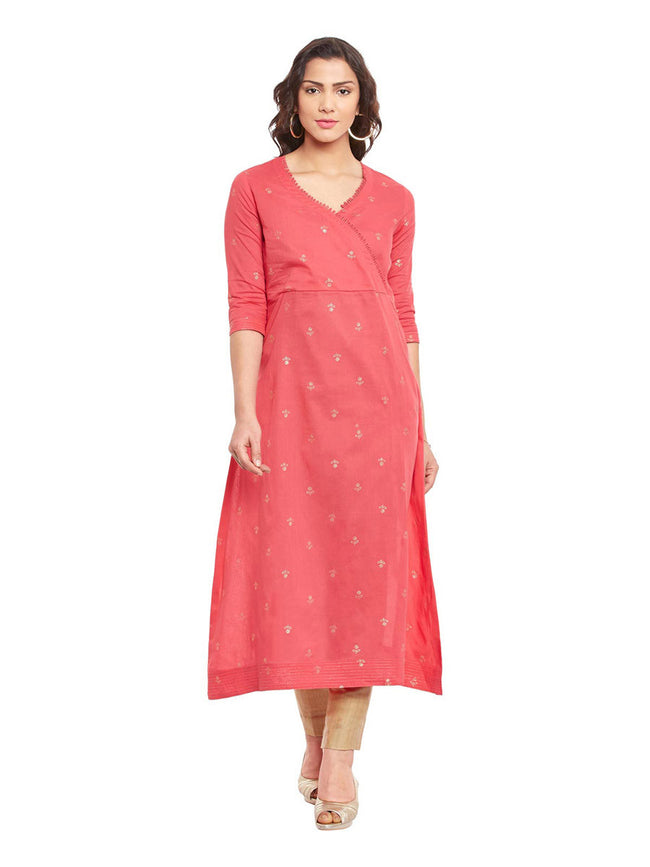 Pink-Gold Printed Cotton A-Line Kurta