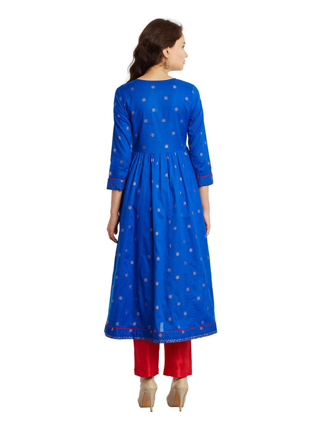 Blue Gold Printed Anarkali Cotton Kurta