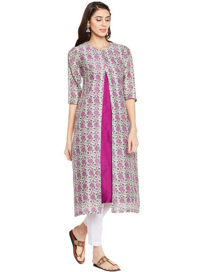 Green Chanderi Kurta Jacket Set