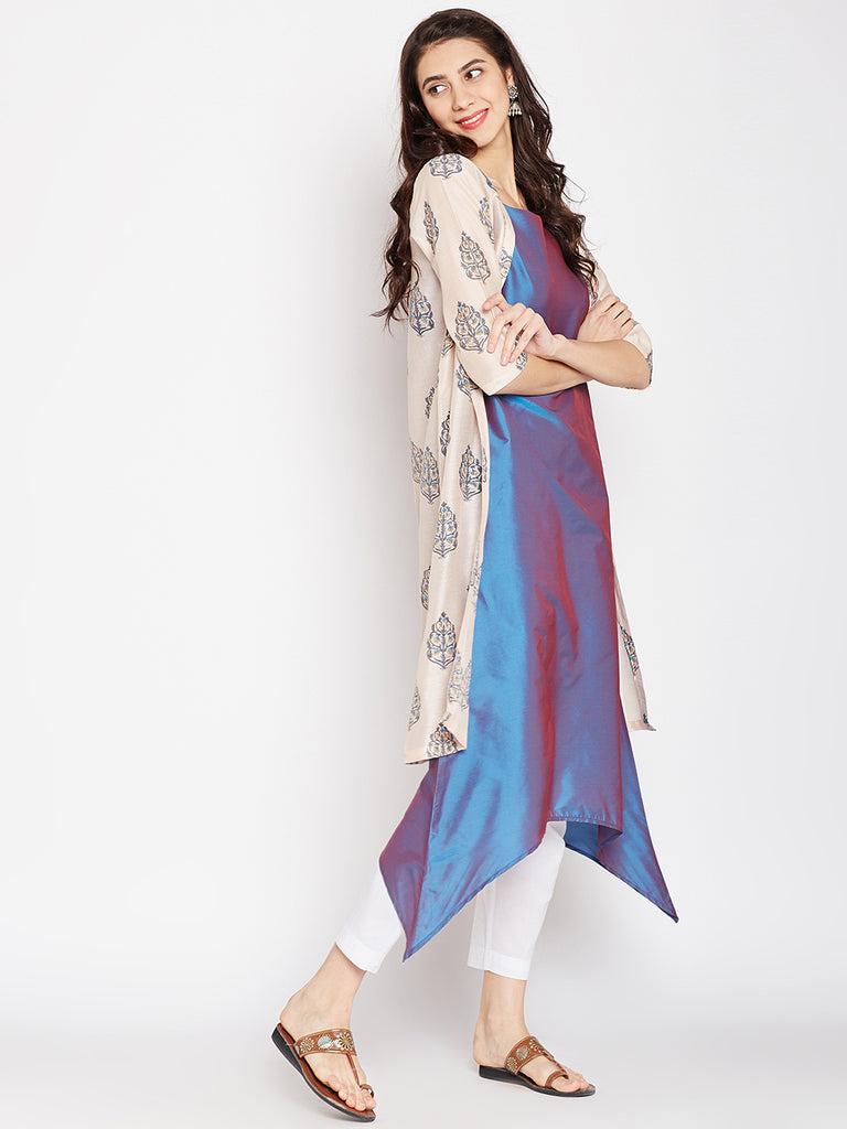 Peach Printed Chanderi Kurta Jacket Set