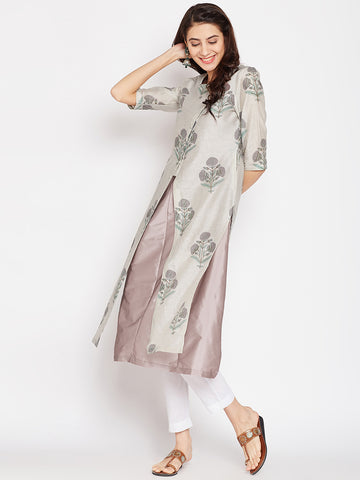 Light Grey Chanderi Layered Kurta Jacket Set