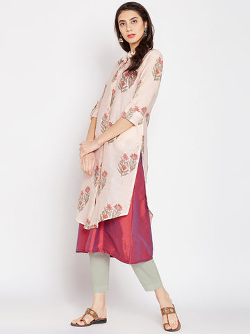 Peach Chanderi Layered Shirt Kurta Set