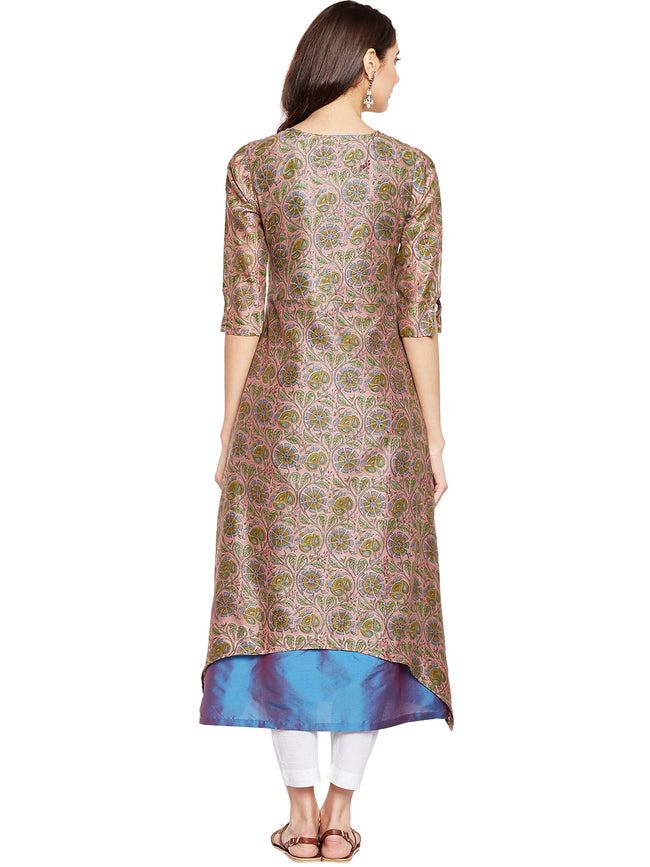 Peach Chanderi Layered Kurta
