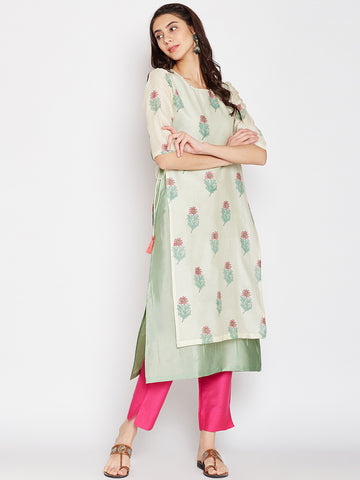 Offwhite Chanderi Layered Kurta with Side Tie & Tassels