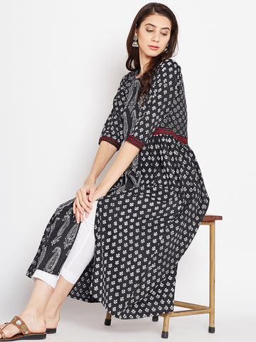 Cotton Kantha Kurta with Front Slits