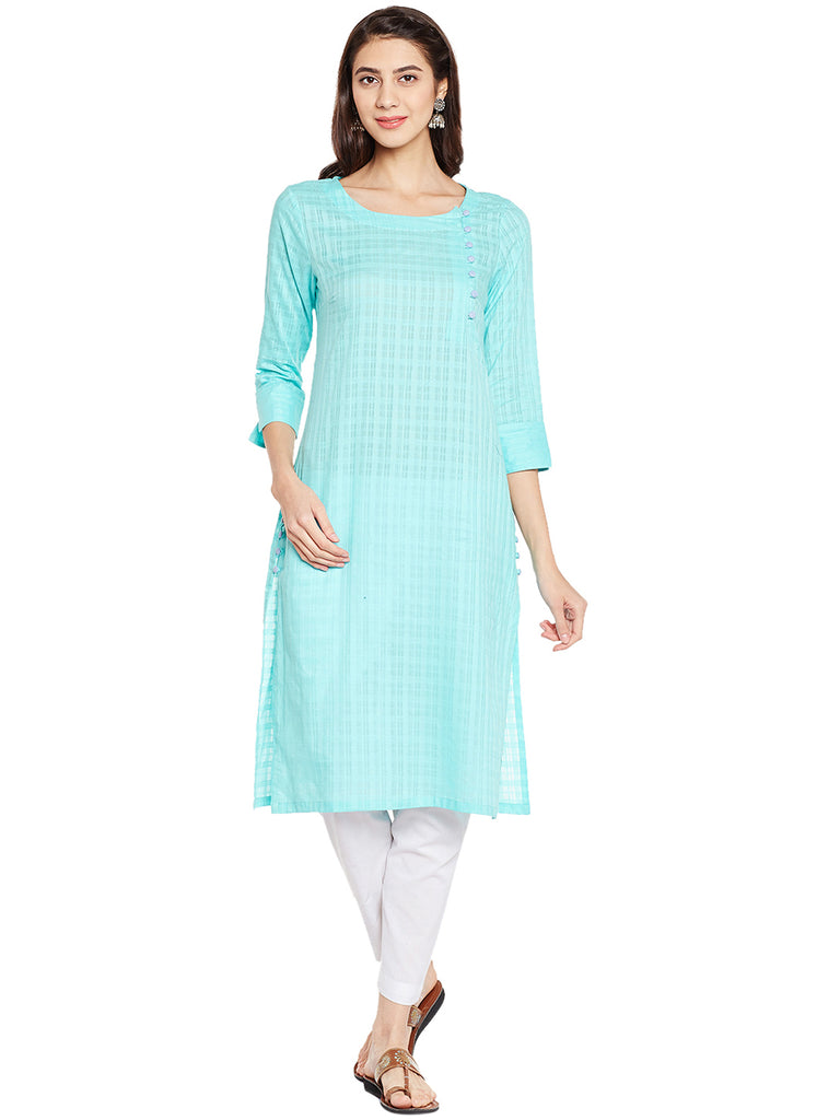 Green Kurta with Side Placket
