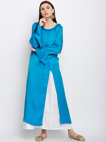 Solid Blue Silk Kurta with Front slit
