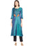 Blue Straight Kurta with Stitch Line and Tassels