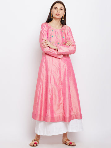 Pink Silk Kurta with Machine Embroidery