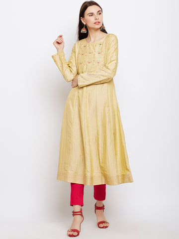 Gold Silk Kurta with Machine Embroidery