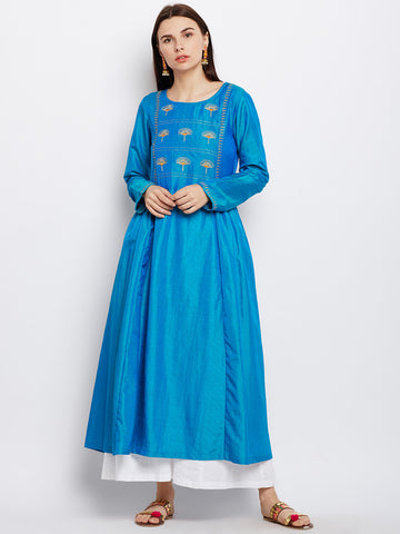 Blue Silk Kurta with Machine Embroidery