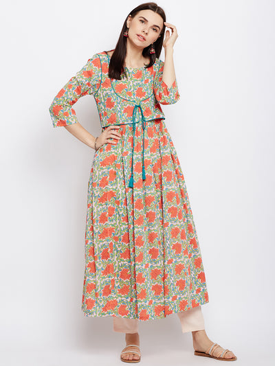 Orange block printed anarkali kurta with green piping