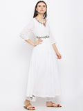 Solid cotton white anarkali