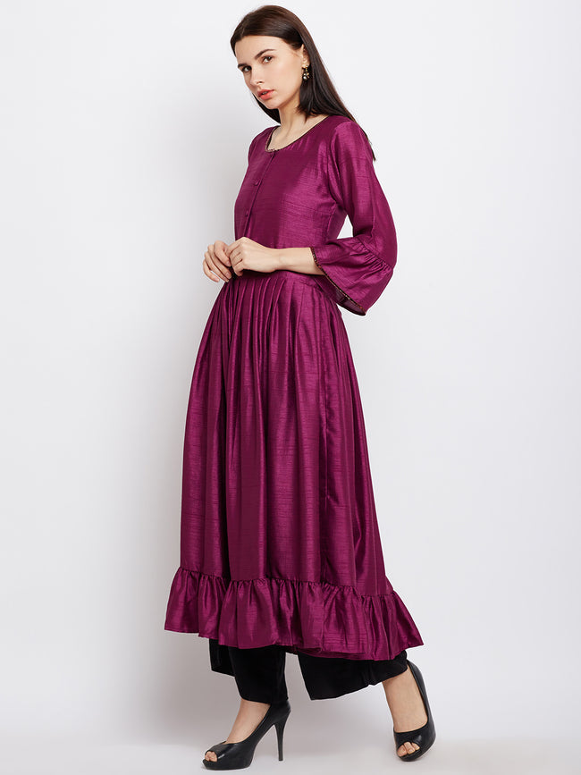 Wine Flared Kurta with Front Opening
