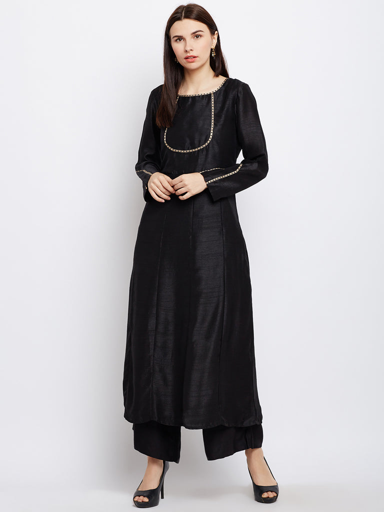 Black Anarkali Kurta with Gold Lace Detailing