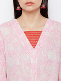 Pink block printed straight kurta