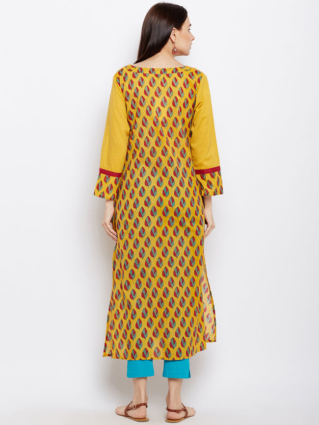 Yellow block printed straight kurta