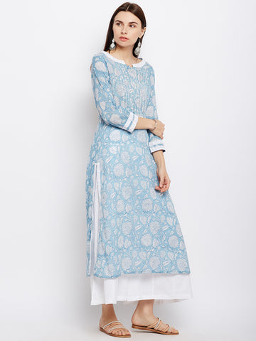 Powder blue straight kurta with lace inserts