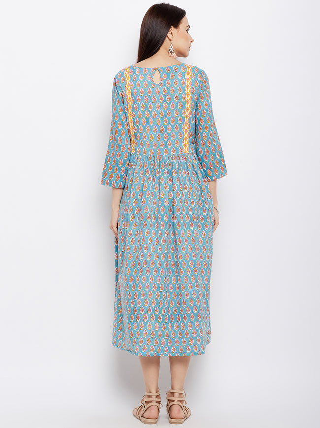 Blue block printed flared kurta dress with side ties