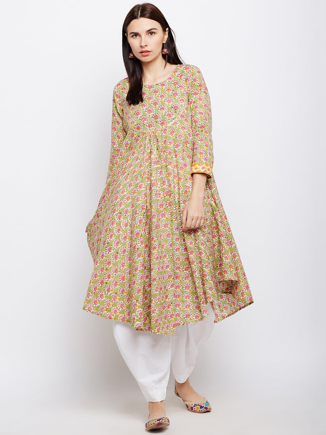 Green block printed short kurta with assymetric hem