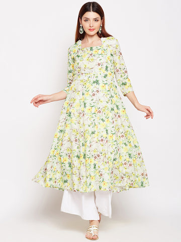 Lyla Floral Polycotton Yellow Kurta