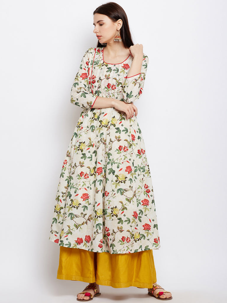 FLORAL ANARKALI KURTA WITH RED PIPING