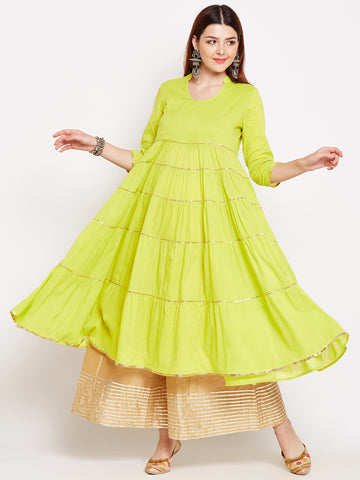 Lyla Gota Lime Cotton Tier Kurta