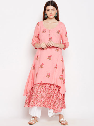 Lyla Layered Cotton Pink Kurta