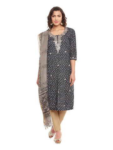 Black Leheriya Printed Cotton Kurta With Kota Dupatta