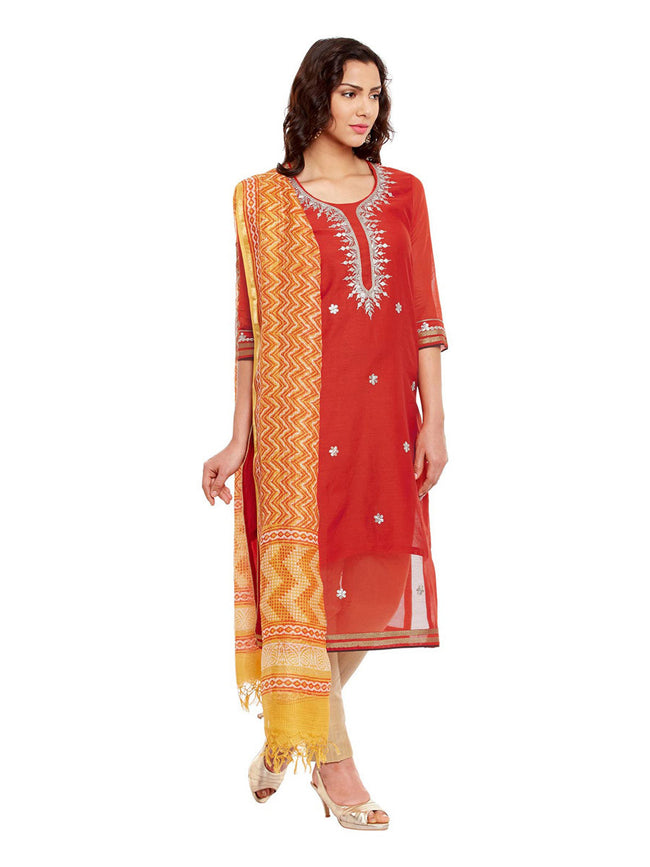 Red Chanderi Kurta With Yellow Kota Dupatta