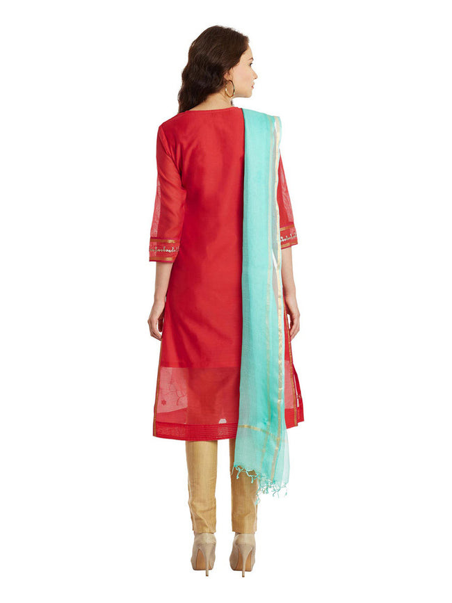 Pink Chanderi Kurta With Kota Dupatta