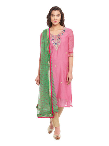 Pink Chanderi Kurta With Bandhni Dupatta