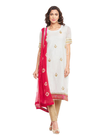 Off White Chanderi Layered Kurta & Bandhni Dupatta