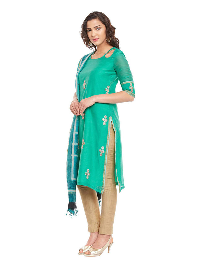 Green Chanderi Kurta With Kota Dupatta
