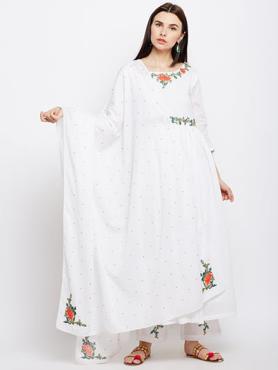 Solid White Cotton Dupatta