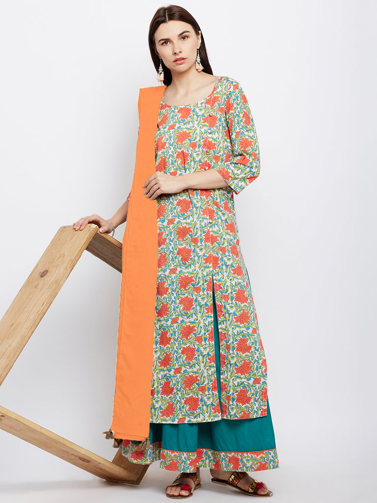 Orange block printed cotton suit set