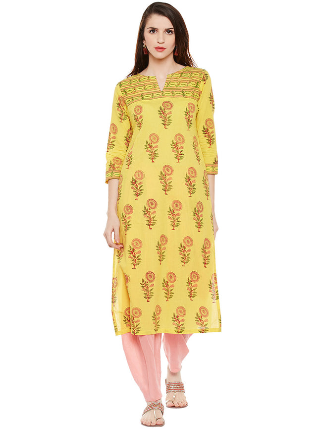 Yellow hand block printed straight kurta with bead work