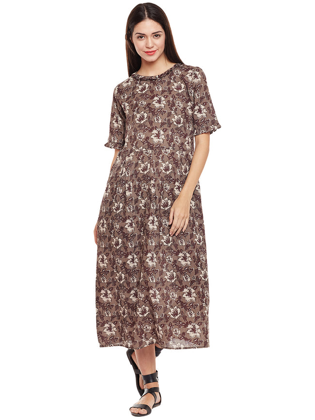grey block printed kantha frilled dress