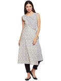 ikat flared kurta with overlap front